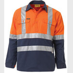 2 TONE HI VIS COOL LIGHTWEIGHT LONG SHIRT 3M REFLECTIVE TAPE - KEVLAR SLEEVE