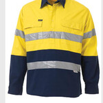 2 TONE CLOSED FRONT HI VIS DRILL SHIRT 3M REFLECTIVE TAPE - LONG SLEEVE