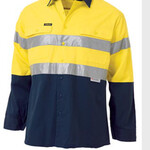 2 TONE HI VIS COOL LIGHTWEIGHT GUSSET CUFF SHIRT 3M REFLECTIVE TAPE - LONG SLEEVE