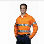 HiVis Drill Shirt with Reflective Tape, Long Sleeve