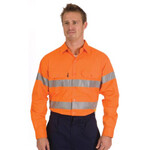 HiVis Cool-Breathe Cotton Shirt with Reflective Tape, Long Sleeve