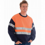 HiVis Two Tone Sweatshirt (Sloppy Joe) with Reflective Tape - Crew Neck