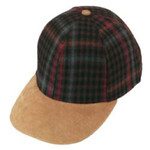 Melton wool plaid cap / suede peak