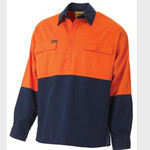 2 TONE CLOSED FRONT HI VIS DRILL SHIRT - LONG SLEEVE