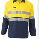 2 TONE HI VIS COOL LIGHTWEIGHT CLOSED FRONT SHIRT 3M REFLECTIVE TAPE - LONG SLEEVE