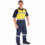 HiVis Two Tone Cotton Action Back Overall with Reflective Tape