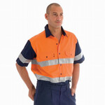 HiVis Two Tone Cotton Shirt with R/Tape, Short Sleeve