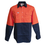 DNC Workwear HiVis 2 Tone Cotton Drill Vented Shirt, L/S