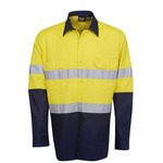 HiViz Two Tone Drill Shirt with Reflective Tape Long Sleeve